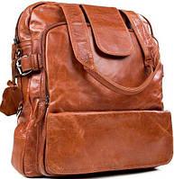 Стильный кожаный рюкзак на 8 л. Tiding Bag 7065LB коричневый