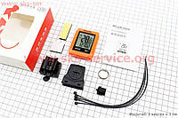 """Вело-компьютер 12-функций, беспроводной 1.7 """" дисплей с сенсорными кнопками управления влагозащитный, оранжевый BKV-6000"""