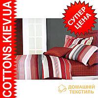 Комплект семейного постельного белья с мако-сатина Полоса красная