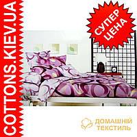 Комплект семейного постельного белья с мако-сатина Кольца фиол.