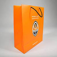 Бумажный пакет с логотипом из мелованной бумаги 450х350х120