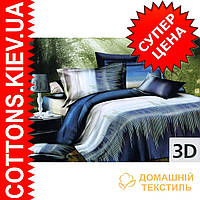 Комплект двуспального постельного белья 3D (коттон) Синяя полоса