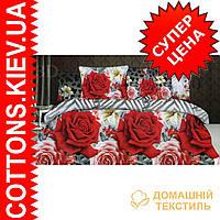 Комплект двуспального евро постельного белья 3D (коттон) Роза зигзаг