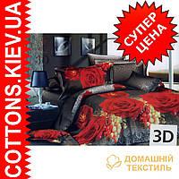 Комплект двуспального евро постельного белья 3D (коттон) Роза-виноград