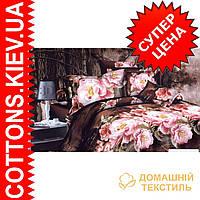 Комплект двуспального евро постельного белья 3D (коттон) Маки-розы