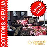 Комплект двуспального евро постельного белья 3D (коттон) Тигровая поляна