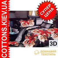 Комплект двуспального евро постельного белья 3D (коттон) Роза-лилия