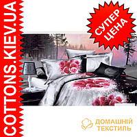 Комплект двуспального евро постельного белья 3D (коттон) Зимняя роза