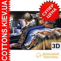 Комплект двуспального евро постельного белья 3D (коттон) Лошадки