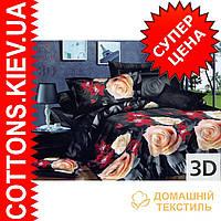 Комплект двуспального евро постельного белья 3D (коттон) Желтая роза