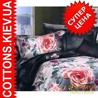 Комплект двуспального евро постельного белья 3D (коттон) Роза-крапинка