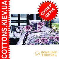 Комплект двуспального евро постельного белья 3D (коттон) Пальма