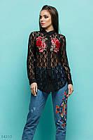 Женская черная гипюровая блузка-рубашка с вышивкой, пр-во Турция.. Арт-8133/39