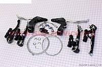 Тормоз V-brake задний+передний в сборе 110мм, рычаги+троса, черные ARTEK