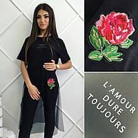 Женская модная стильная черная футболка-сетка Роза Турция. Арт-8135/39
