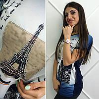 """Женская модная стильная синяя футболка-туника """"Париж""""  Турция. Арт-8137/39"""