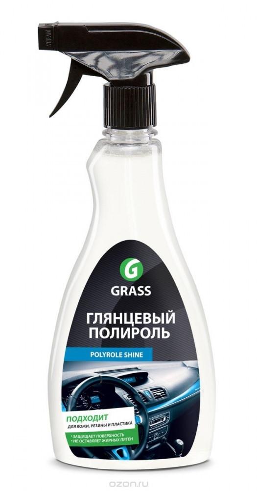 """Полироль для кожи, резины и пластика Grass """"Polyrole Shine"""" эффект глянцевого блеска 0,5л (500мл)"""