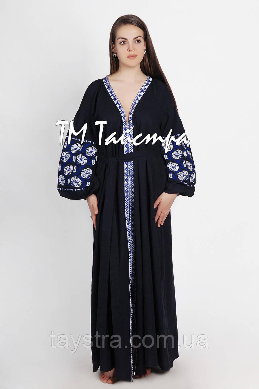 """Платье в восточном стиле с вышивкой льняное  """"Арабика"""", бохо, этно"""