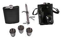 Подарочный набор в кожаном чехле: фляга/стопки/нож/раздвижной стакан