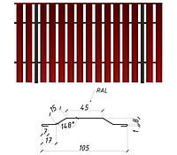 Евроштакетник односторонний 0,45 мм мат Италия