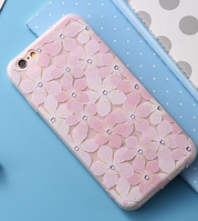 Силиконовый чехол с цветочками и камнями для iphone 6/6S