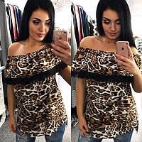 """Женская стильная летняя блузка в больших размерах 1502 """"Лео Оборка Кружево"""""""