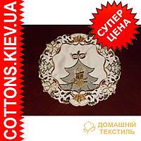 Нежная кружевная  новогодняя салфетка с коричневой вышивкой 30*30 Елочка