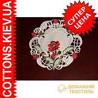 Круглая салфетка украинский стиль маки 30*30