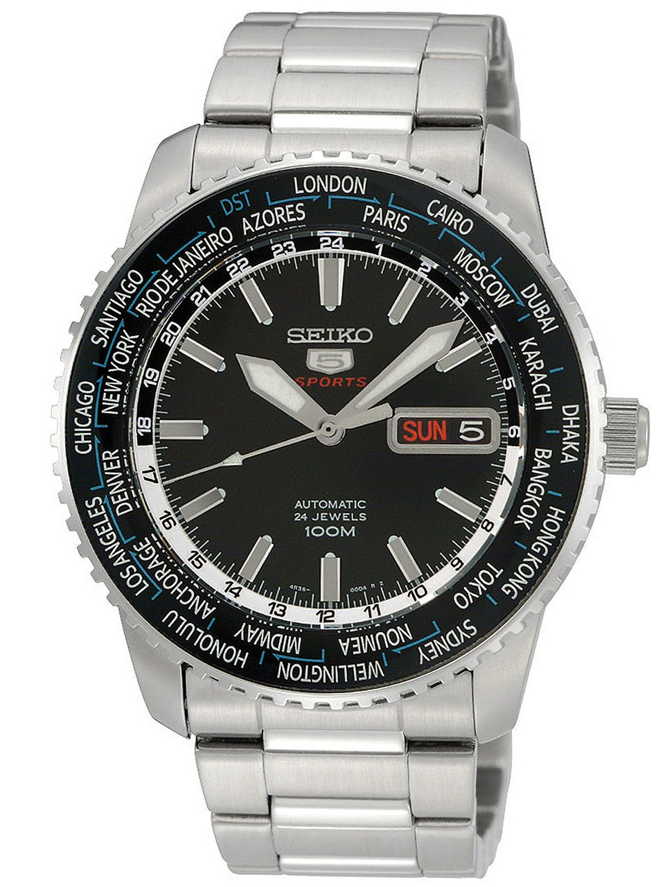 Часы Seiko 5 Sports SRP127K1 Automatic 4R36 Worldtime
