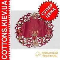 Круглая ажурная красная салфетка 30*30  свеча