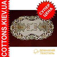 Ажурная салфетка с новогодней символикой  30*45 коричневой  елки