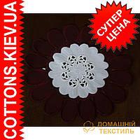 Элегантная салфетка бело бордовый цветок 30*30