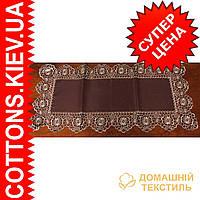 Салфетка коричневая с кружевной кайомкой  85*85GR-55C2140