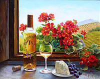 """Раскраска по номерам Идейка """"Натюрморт с вином и геранью Худ Фран Ди Джакомо""""  40 х 50 см"""