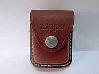 Чехол кожаный для зажигалки ZIPPOкоричневый, матовый, с петлёйи клипсой.