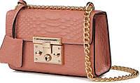 Модная женская сумочка из натуральной кожи Gucci 409488 розовый