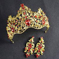 Корона вечерняя и серьги набор Герда Голд комплект в стиле Dolce&Gabbana Тиара Виктория для волос