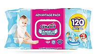 Детские влажные салфетки c клапаном Ultra Compact Angels Baby 120 шт.