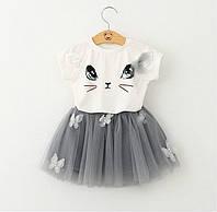 Детская юбка из фатина и футболка для девочки.