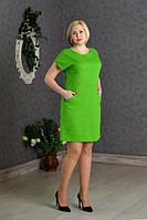 Платье новинка Аида больших размеров из льна  повседневное в размерах 48, 50, 52 зеленого цвета   оптом