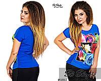 Синяя летняя цветная футболка  больших размеров Турция. Арт-8139/39