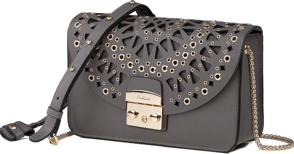 6ad1c61981f0 Кожаная женская сумка ФУРЛА Metropolis Bolero A86030 серый — только ...