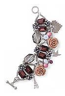 32050730 Массивный стильный браслет Honey (Хани) из меди, покрытый родием. Вставки – хрусталь