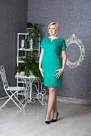 Платье новинка Вектра  больших размеров из льна  повседневное в размерах 46, 48, 50, 52 зеленого цвета  оптом