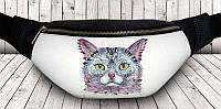 Прикольная сумка на пояс цветной кот URBANSTYLE s006 черный