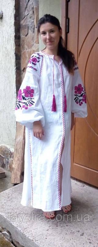Вышитое платье белое вышиванка лен, этно, стиль бохо шик, вишите плаття вишиванка, Bohemian,стиль Вита Кин