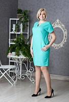 Платье новинка Вектра  больших размеров из льна  повседневное в размерах 46, 48, 50, 52 бирюза  цвета  м