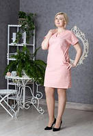 Платье новинка Вектра  больших размеров из льна  повседневное в размерах 46, 48, 50, 52 розового цвета  оптом