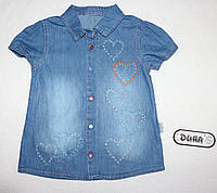 Джинсовая рубашка на девочку 5,6,7,8 лет