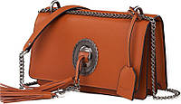 Модная кожаная женская сумка Yves Saint Laurent YSL-8270LB коричневый